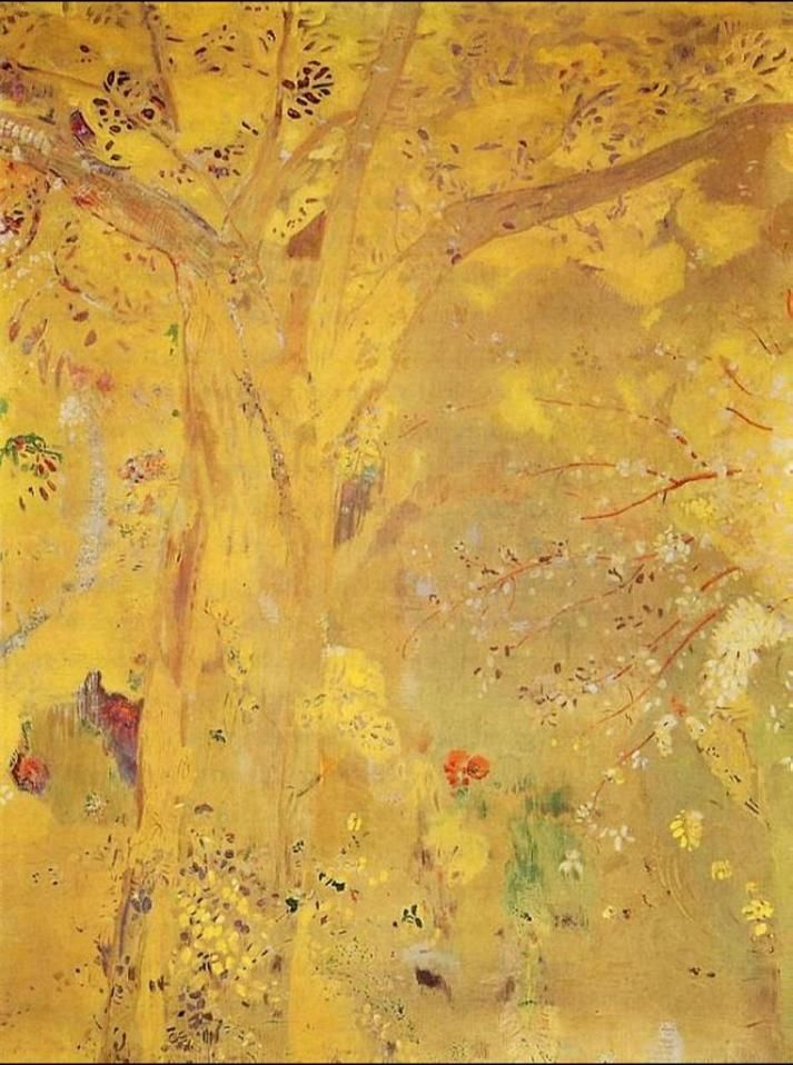 Odilon Redon「Tree Against a Yellow Background」(1901)