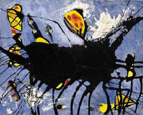 Jackson Pollock  Title: Poured black shape I , 1950 Medium: Oil on Canvas Size: 30.3 x 41.3 cm jr