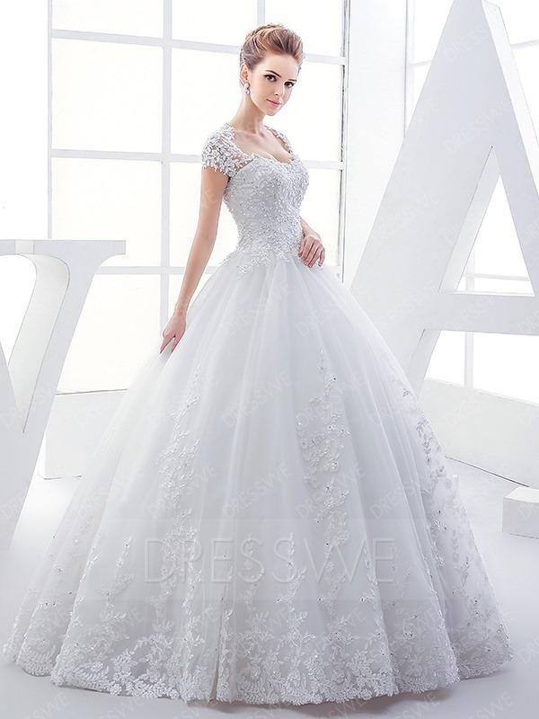 #AdoreWe #DressWe DressWe Cap Sleeves Lace Appliques Ball Gown Wedding Dress - AdoreWe.com