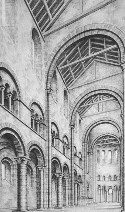 Romanesque Architecture France Reconstructed Drawing Of