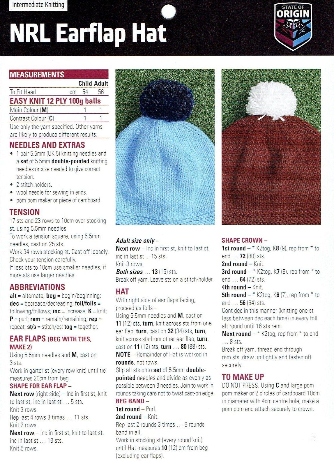NRL Earflap Hat – Free Beanie Knitting Pattern   Knitted hats ...