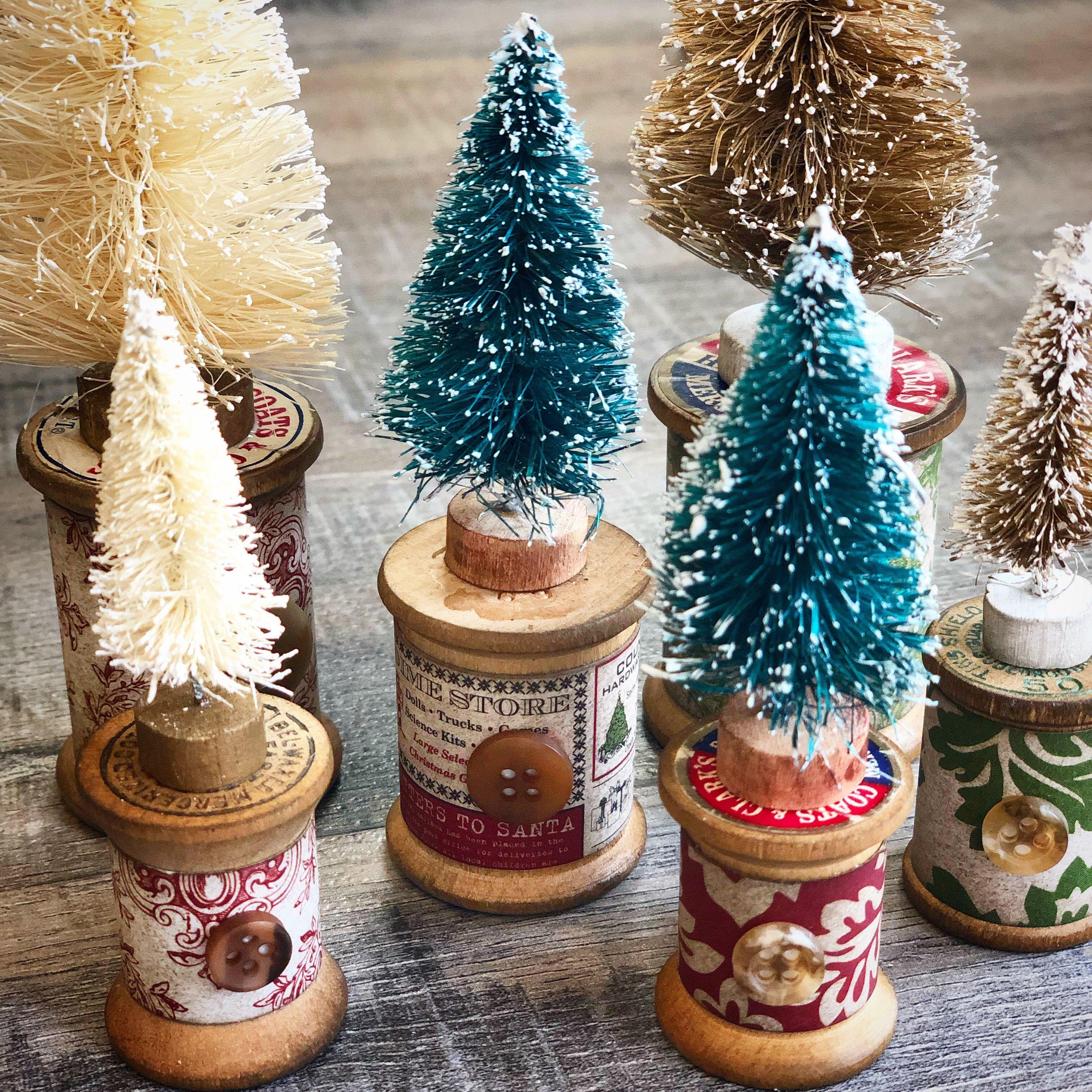 Tiny Bottle Brush Christmas Trees On Vintage Wood Spools Vintage Christmas Crafts Bottle Brush Christmas Trees Diy Christmas Ornaments