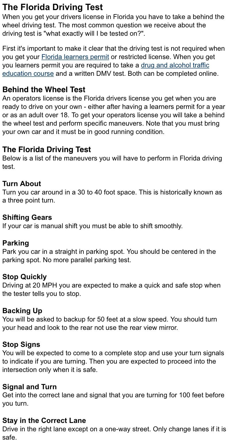 Florida requirements | How to drive cars | Driving test