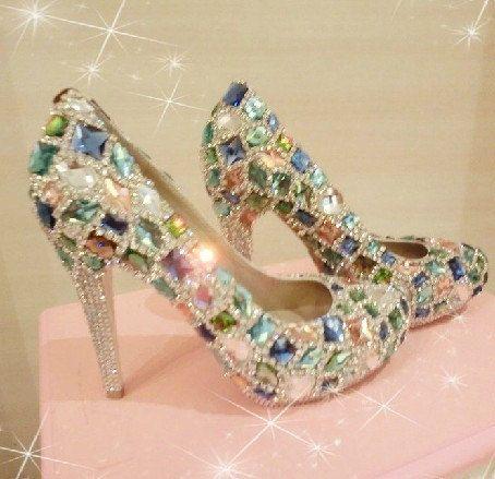 S 199 00 Parkly Bridal Shoes Bling Swarovski Crystal Wedding Shoes Party Shoes Bridal Shoes High Hee Bling Wedding Shoes Crystal Wedding Shoes Crystal Shoes