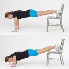 Decline Push Ups Feet On Chair Hands On Floor For Incline Push Ups Place Your Hands On The Seat Of The Chair And Feet On Tone Body Workout Exercise Get Fit