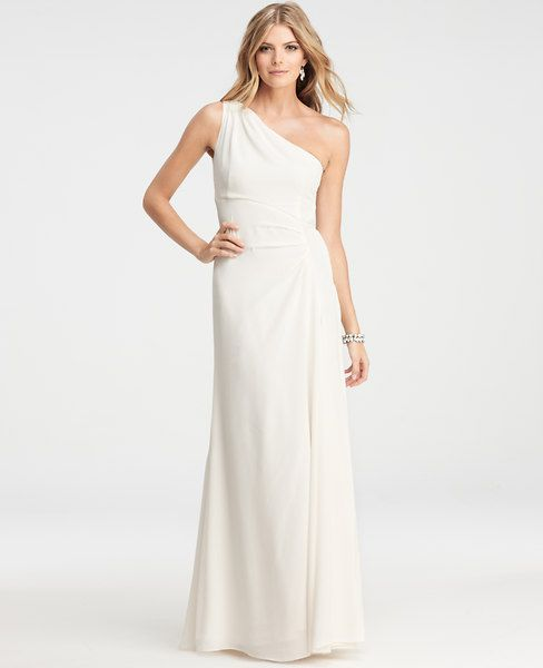 Silk Crepe One Shoulder Gown | Ann Taylor | Wedding dress ...