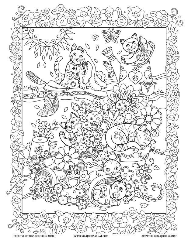 Garden Kitties Creative Kittens Coloring Book By Marjorie Sarnat