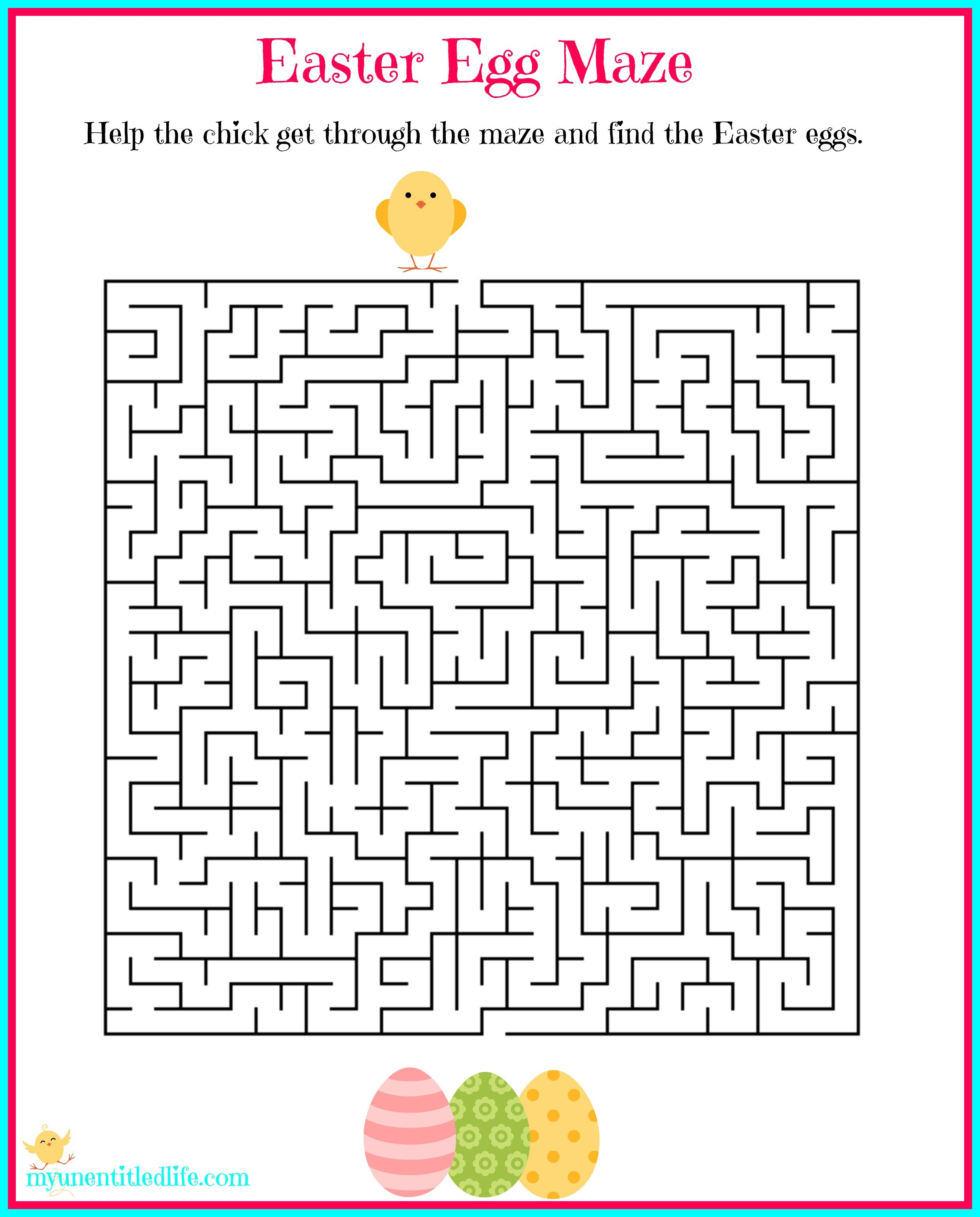 Easter Egg Maze Free Printable In
