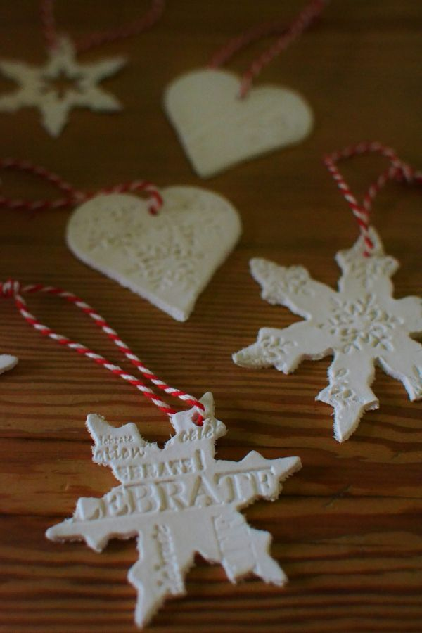 Air drying clay Christmas decorations LR - DIY: Air Drying Clay Christmas Tree Decorations Red And White
