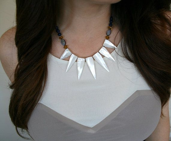 Selenite Stone Statement Necklace by FonetteMarieRachal on Etsy, $47.00