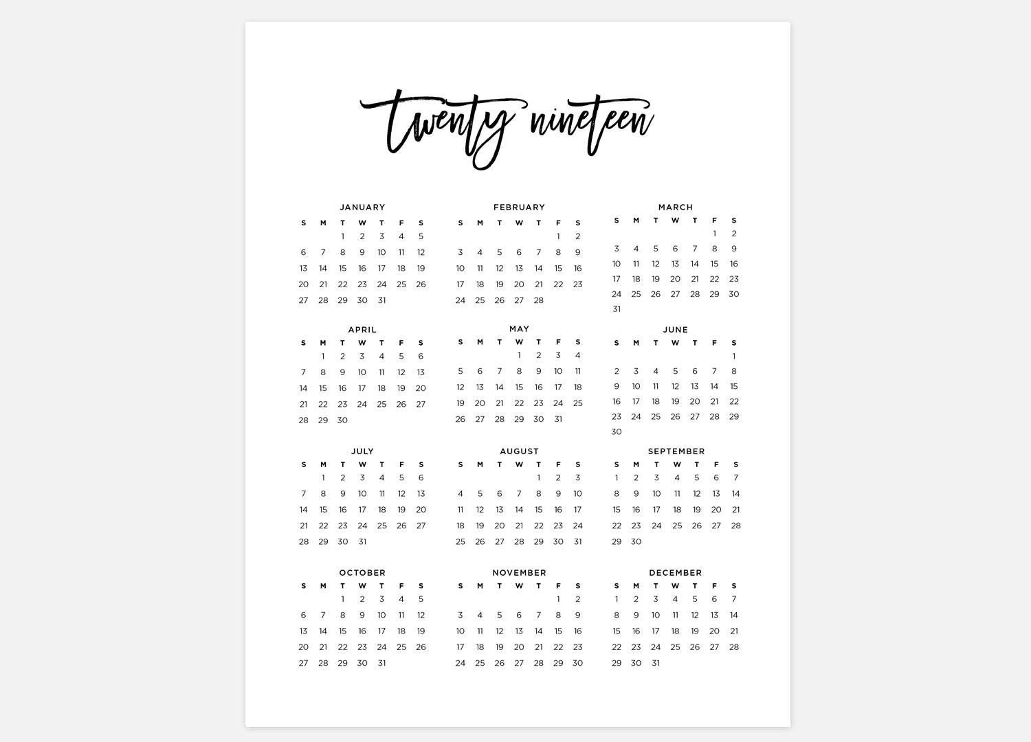 2019 Year at A Glance Printable Calendar 2019 Calendar Simple