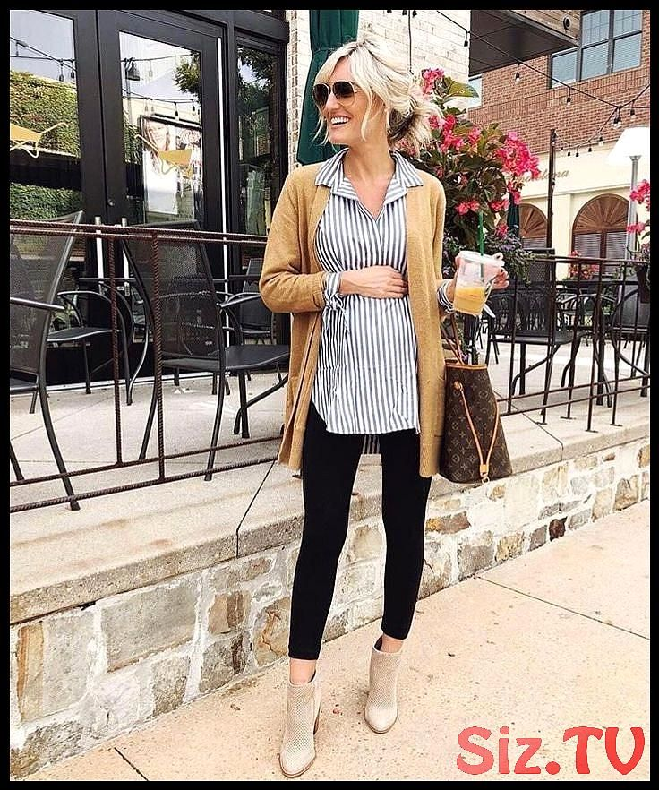 Maternity office outfit button down leggings cardigan
