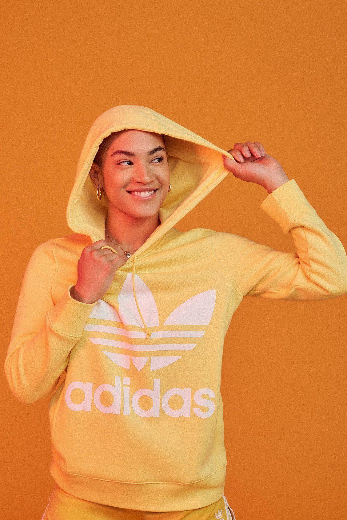 d4f038c7a85b adidas Originals Adicolor Classic Trefoil Hoodie Sweatshirt | Urban  Outfitters