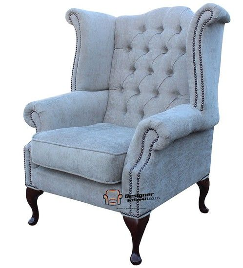Chesterfield Fabric Queen Anne High Back Wing Chair Ritz Mink Fabric,  Traditional Sofas
