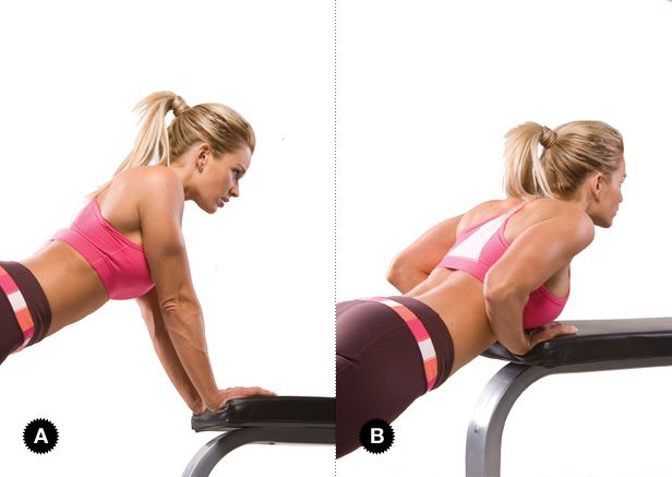 CLOSE GRIP PUSH-UP ON BENCH Target Muscles: Triceps