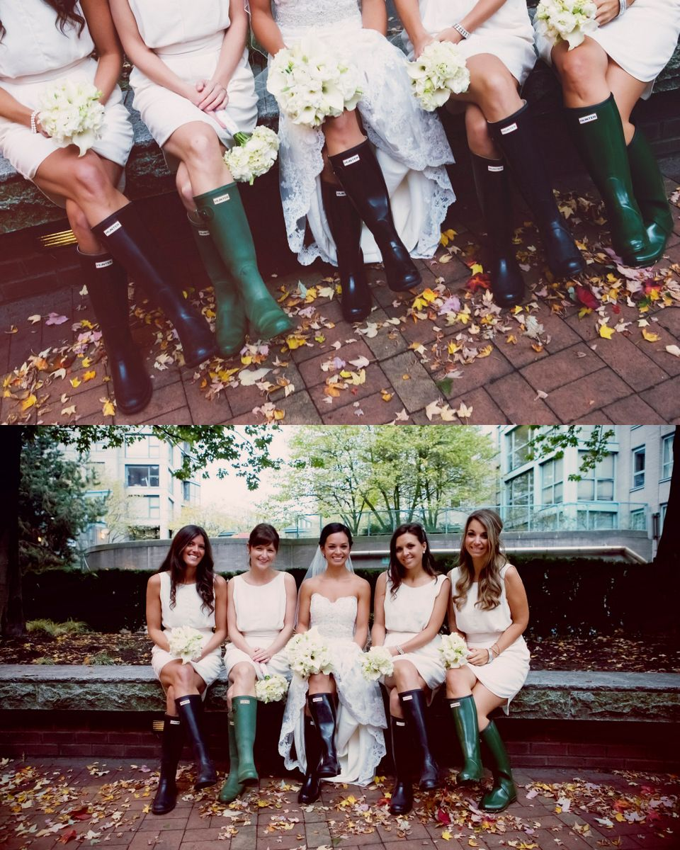 Bridal party wearing Hunter wellies!