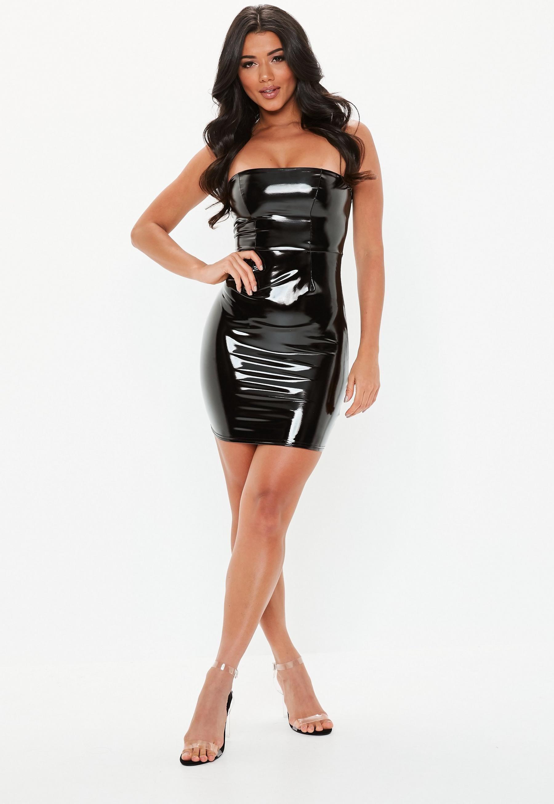 f1794447561 Black Bandeau Vinyl Mini Dress