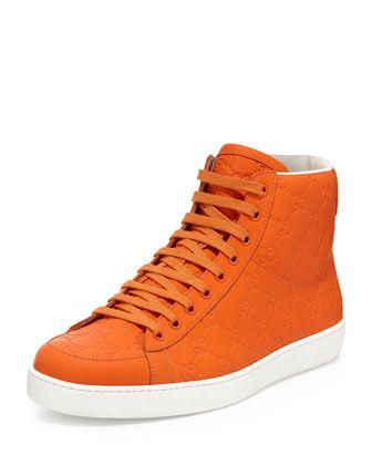 80310a1fc Brooklyn Guccissima High-Top Sneaker, Orange by Gucci at Bergdorf Goodman.