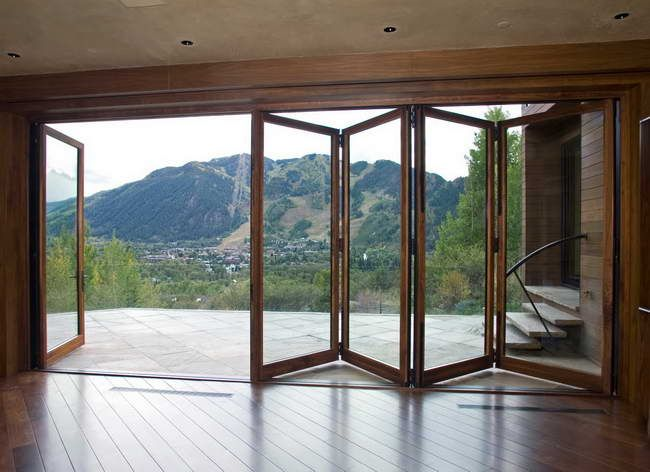 How Can Decorate Foldable Glass Door To Your Home Foldable Glass Door With Wood Floor