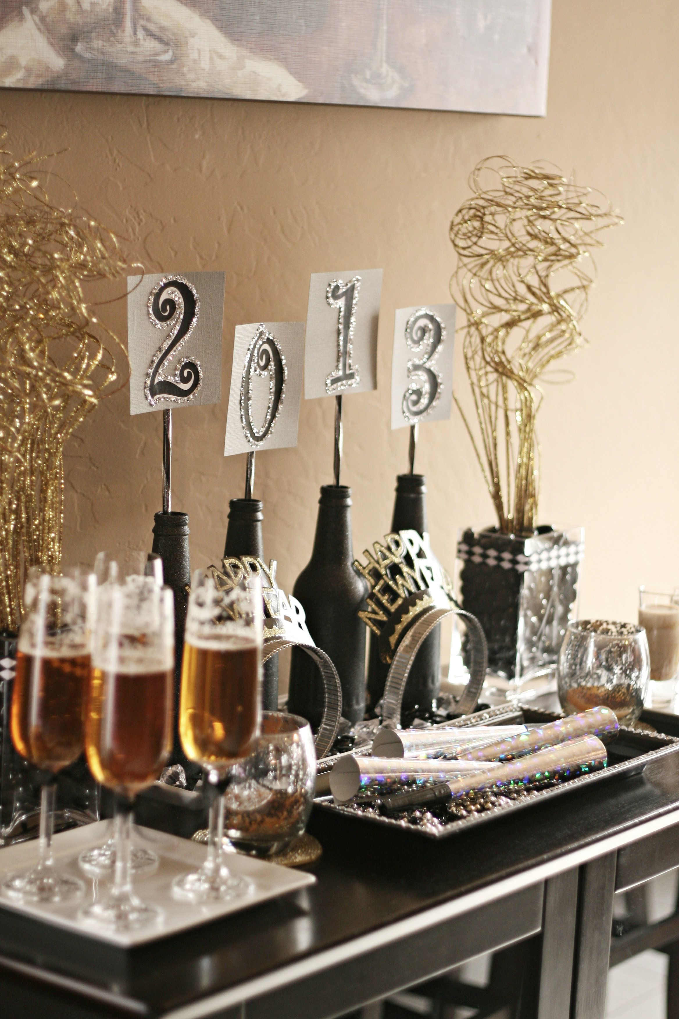 Preparing for the new year bottle wine and place holder for Table 52 new years eve