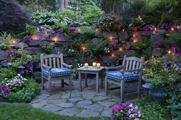 """Résultat de recherche d'images pour """"joli jardin avec lumière"""""""