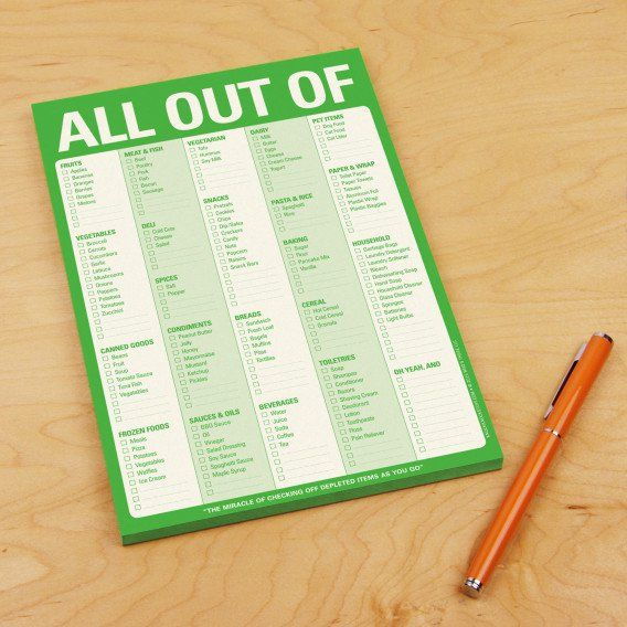 All Out Of list pad is a grocery shopping list in checklist - housing benefit form