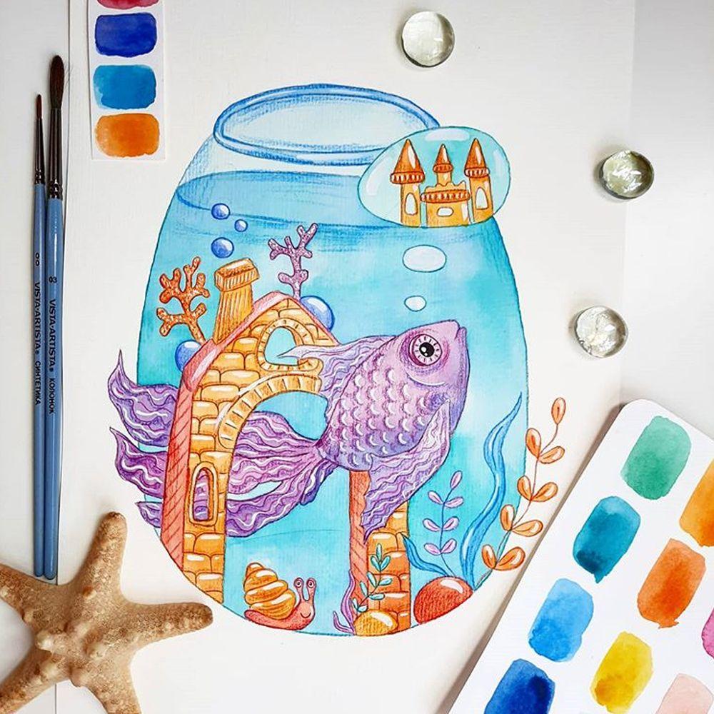 Сиреневая акварельная рыбка в аквариуме в 2020 г | Аквариум