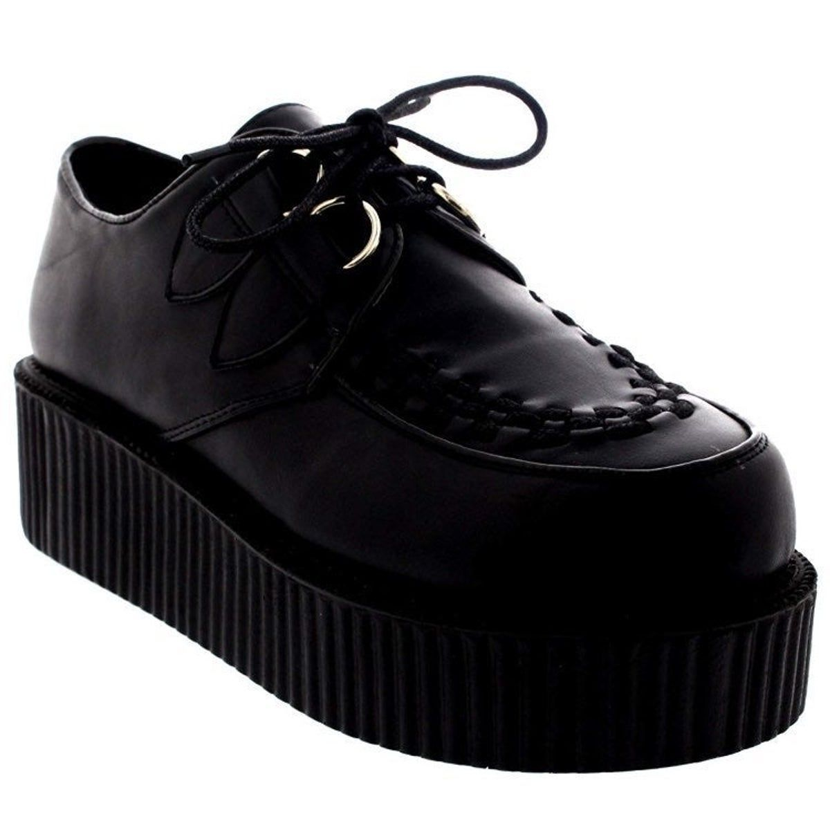 Leather Double Platform Creepers Shoe