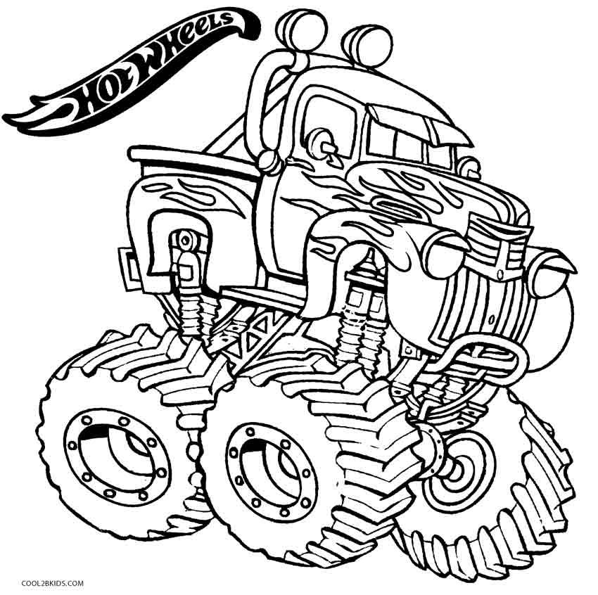 hot wheels monster truck coloring pages - Monster Truck Coloring Pages Easy