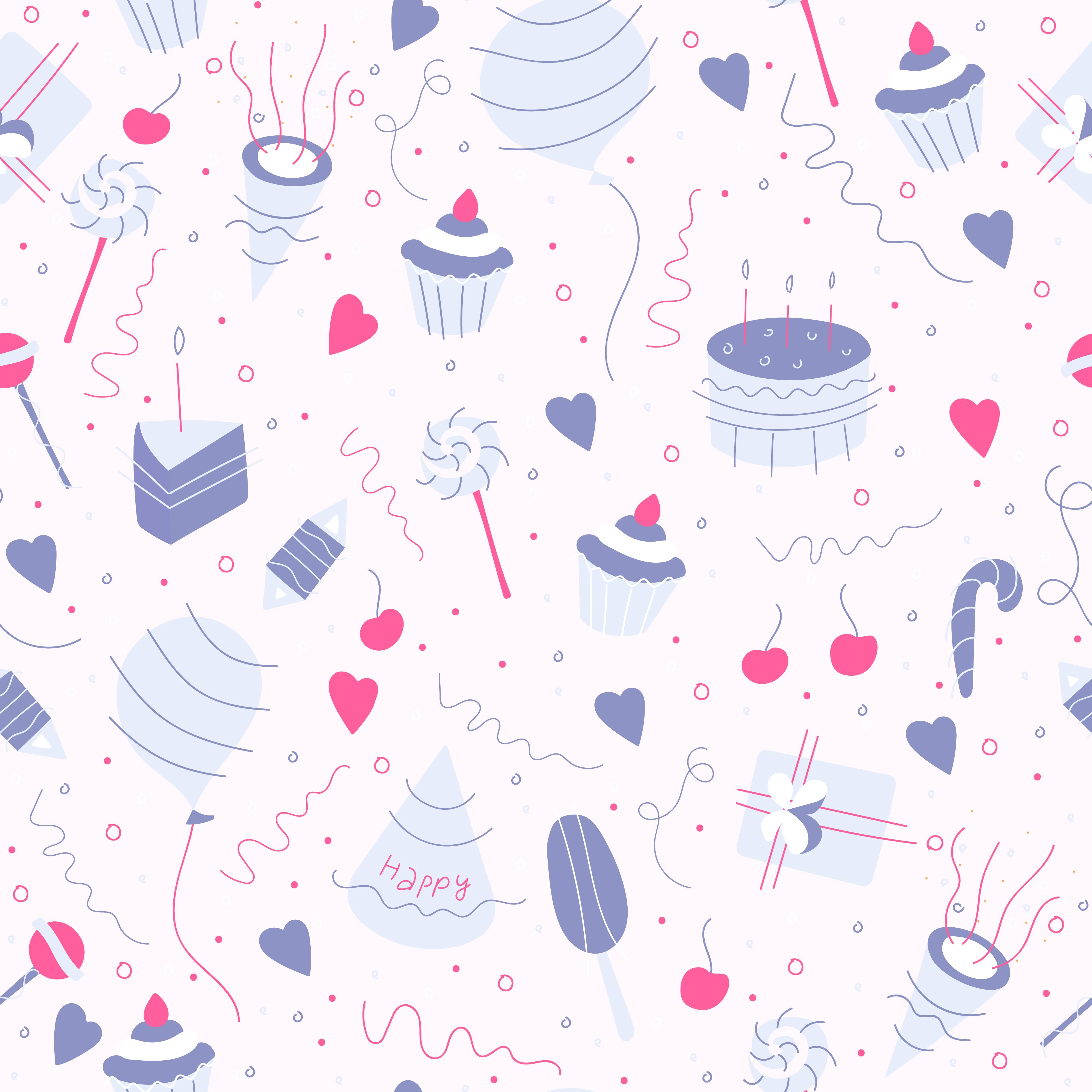 Festive Seamless Pattern With Hand Drawn Birthday Party Design