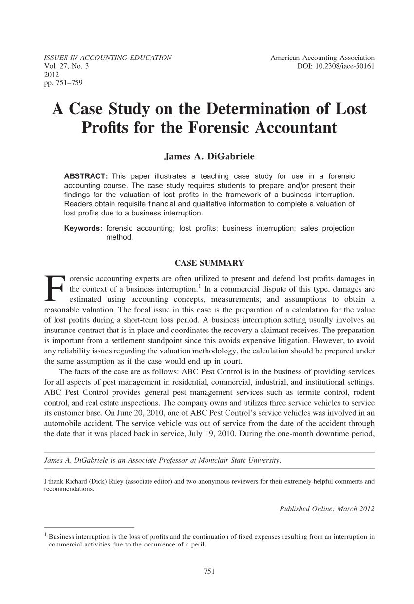 Pdf A Case Study On The Determination Of Lost Profits For Throughout Forensic Accounting Report Template Best Forensic Accounting Forensics Report Template