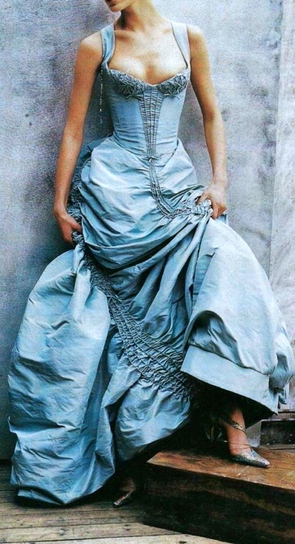 This blue gown -  Christian Lacroix. I don't know where I'd wear this, but it's somewhere in my fantasy life.                                                                                                                                                                                 More