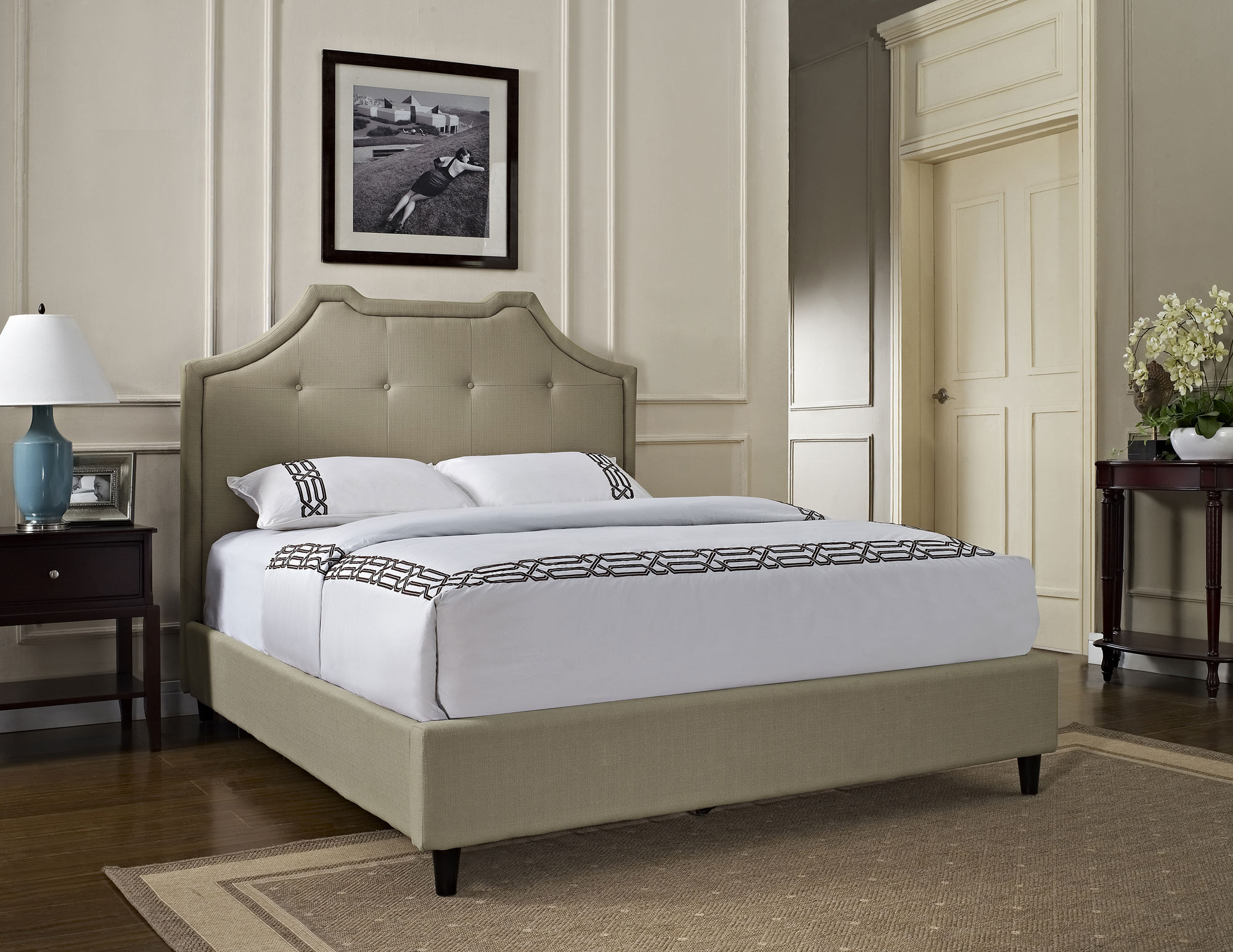 queen crown button tuft bed powell home gallery stores tufted