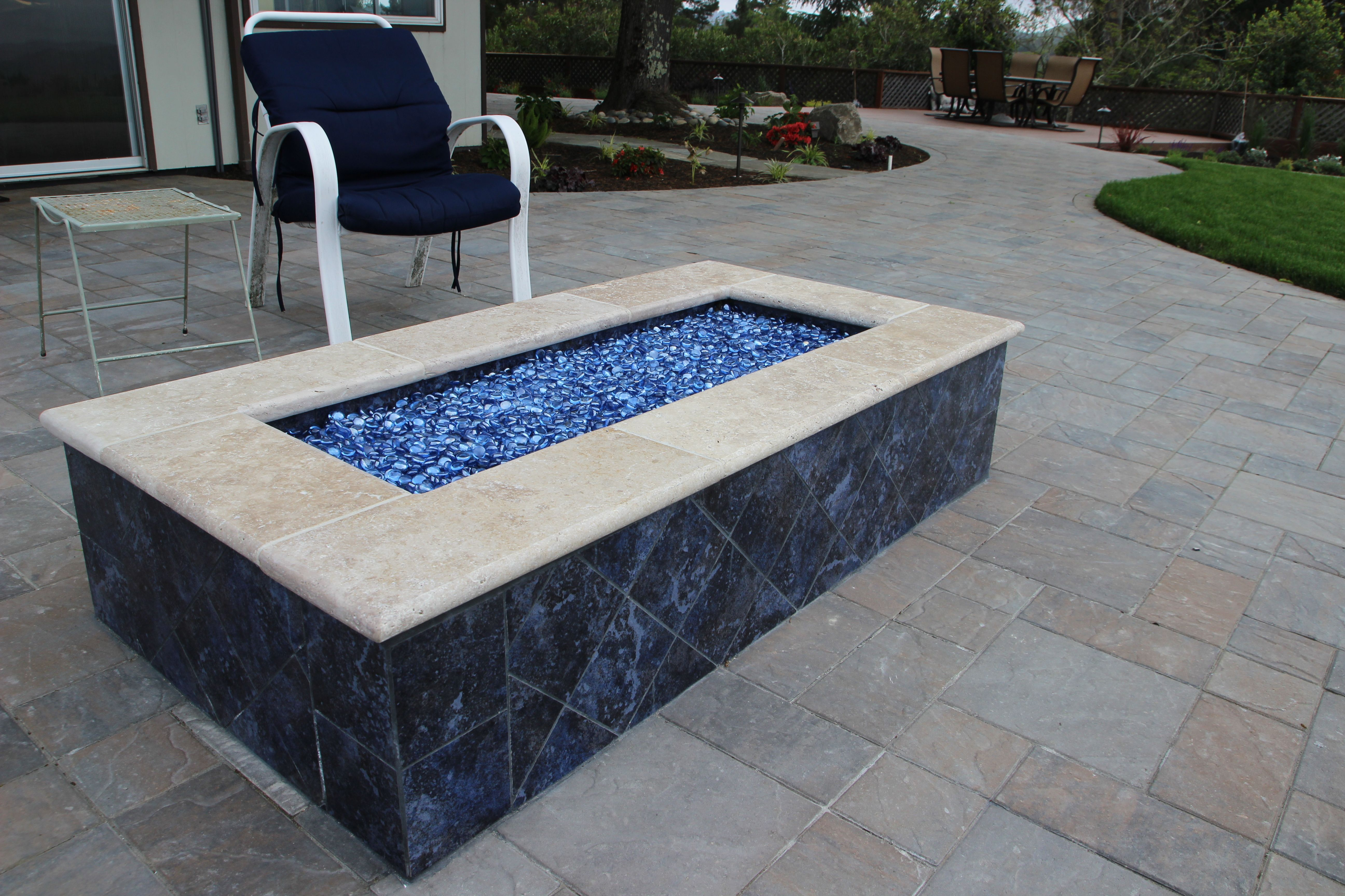 Rectangle Firepit With Blue Glass Glass Fire Pit Fire Pit Decor Modern Fire Pit