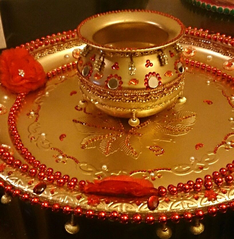 Indian Wedding Tray Decoration: Beautiful Wedding Tray Hand Decorated With Lots Of Jewells