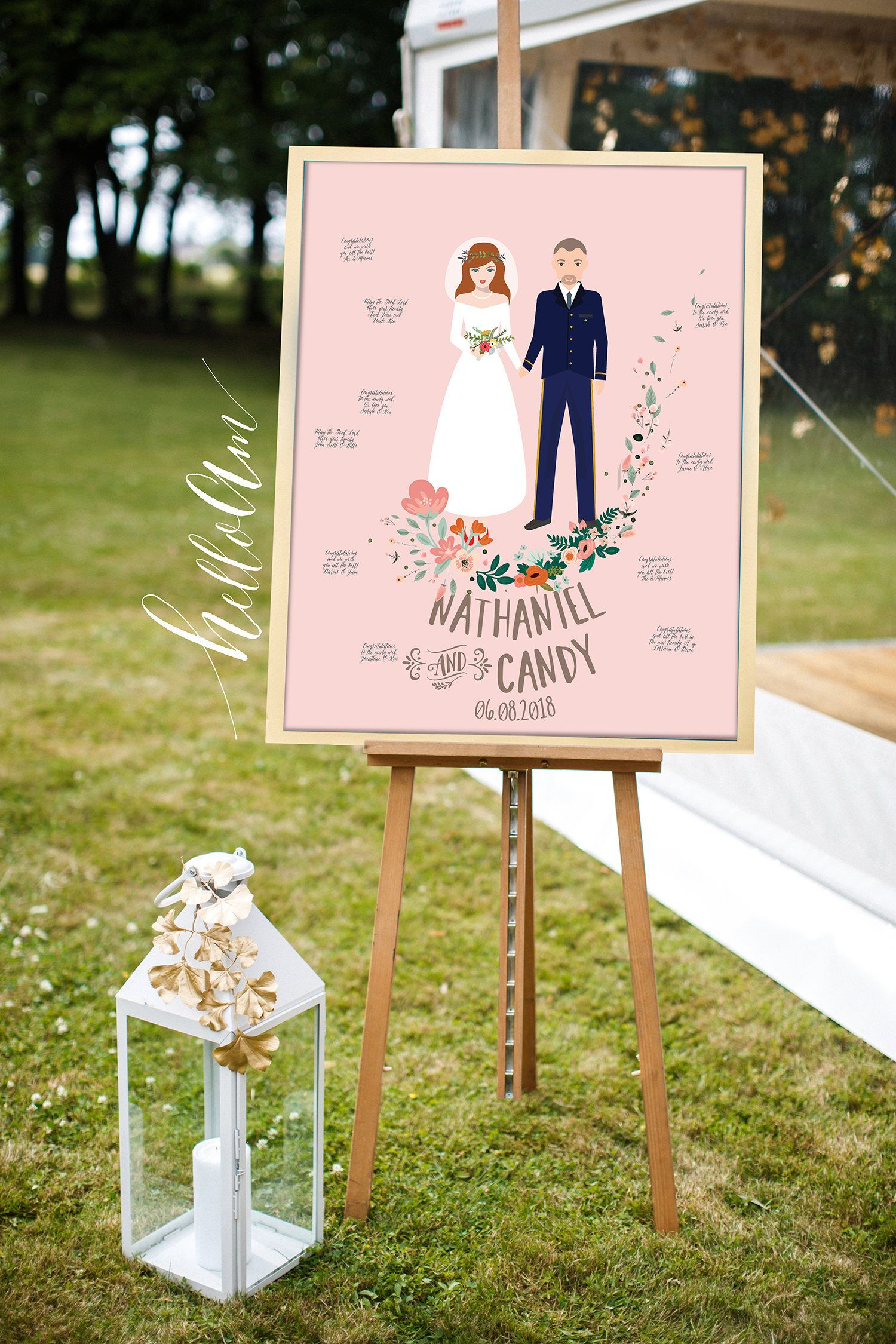 Wedding Gift Wedding Guest Book Alternative Couple Portrait