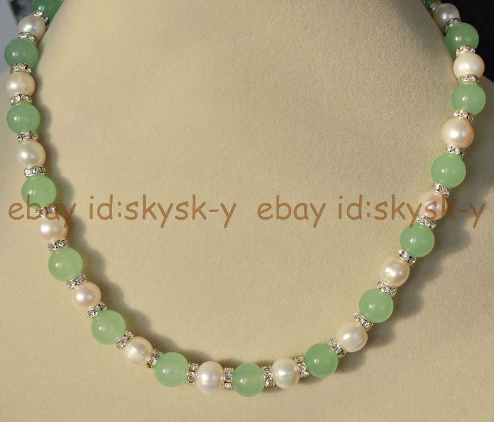 """Natural 7-8MM White Akoya Pearl /& Green Jade Round Gems Beads Necklace 18/"""""""