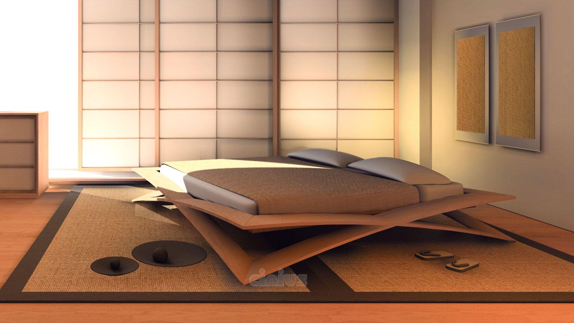 Camera Giapponese Con Letto Artigianale Loto Di Cinius Interior Design Giapponese Design Della Camera Da Letto Design Di Mobili