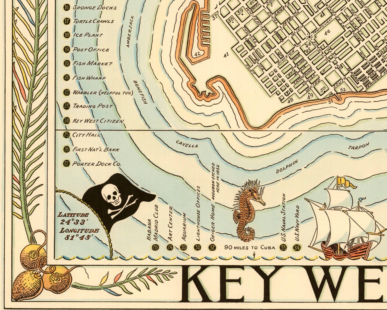 Key West Florida Pictorial Map  Vintage Giclee Fine Art Print - Florida keys map art