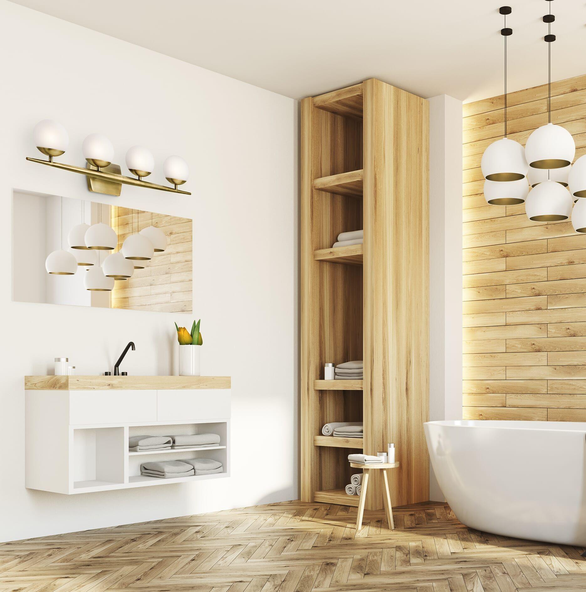 """Photo of Kichler Jasper 4-Light 32 """"Bathroom Vanity Light in Natural Brass"""