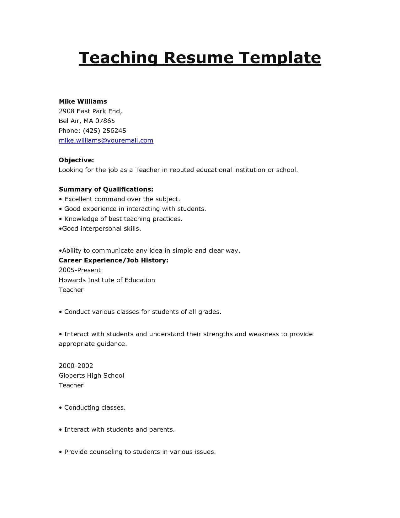 teaching resume format at for teachers pdf