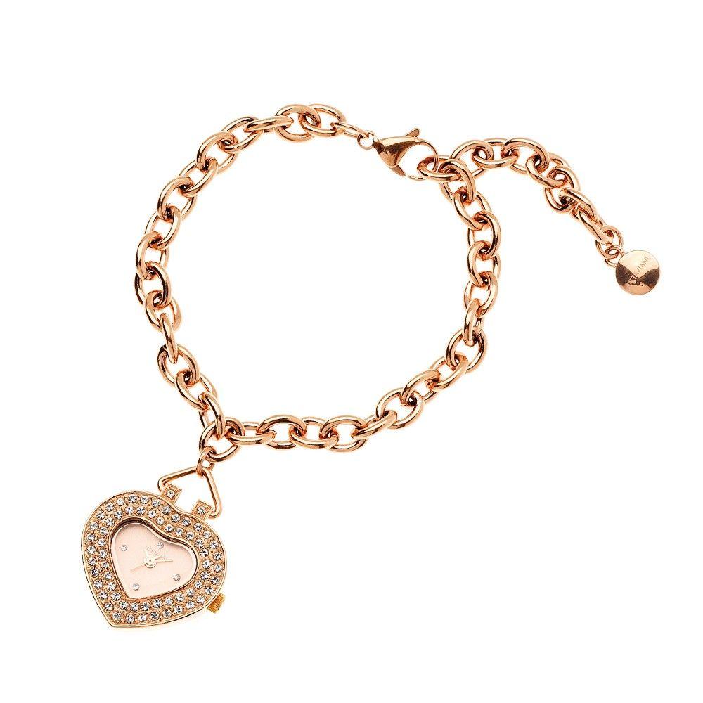 Orologio da polso donna con quadrante a cuore e cassa acciaio con cristalli. Movimento al quarzo, Impermeabilità: water-resistant e cinturino a bracciale.