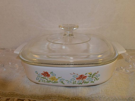 Corning Ware Casserole Dish A 8 B With Lid Vintage Wild Flowers