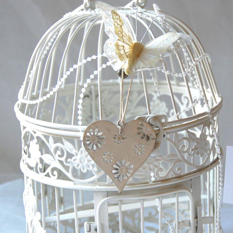White Birdcage Shabbychic Wedding Table Centres Bird Cage Shabby Chic