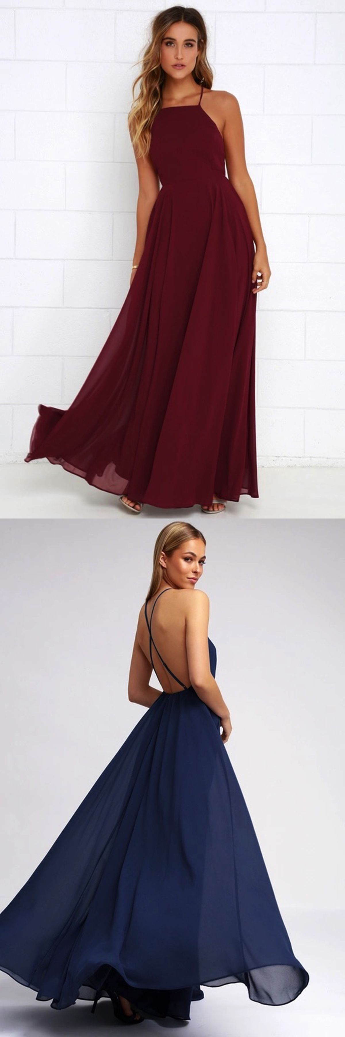 Simple burgundy chiffon strapless long open back prom dress evening