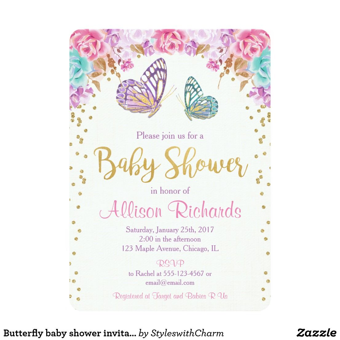 Butterfly baby shower invitation pink purple gold card   Baby Shower ...