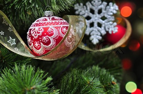 Image of 'Colorful christmas decoration hanging on christmas tree' . Colorful christmas decoration hanging on christmas tree