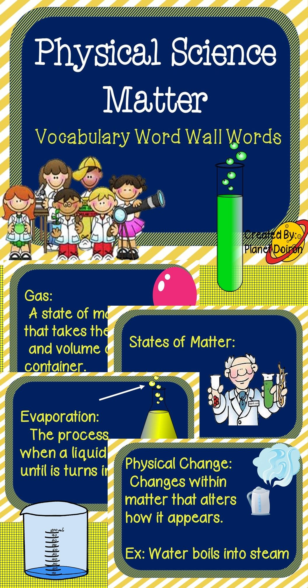 Physical Science States Of Matter Vocabulary Word Wall