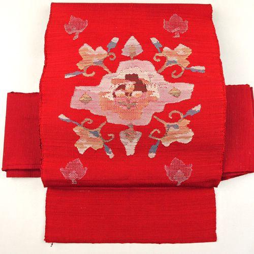 Scarlet nagoya obi / 【名古屋帯】緋赤紬地抽象花柄お太鼓柄八寸