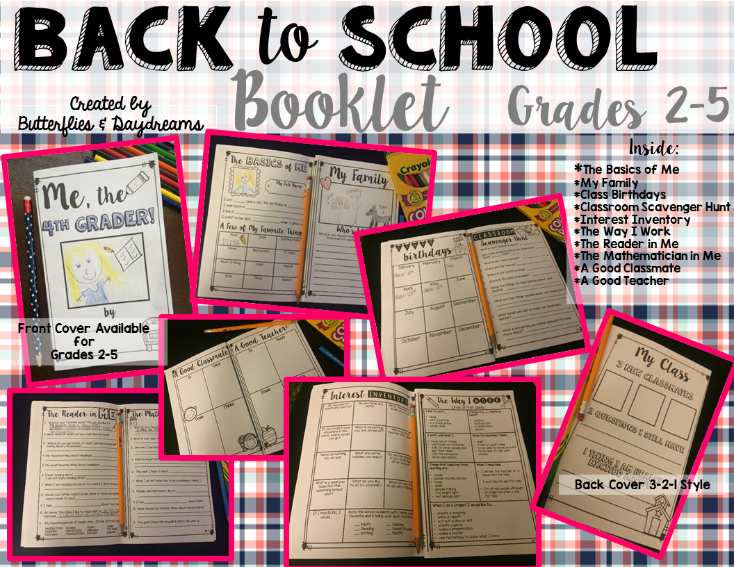 Back To School Booklet First Week Activities For Grades 2 5